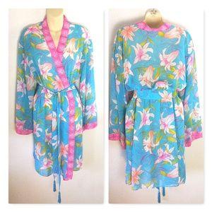 Valerie Stevens Sheer Floral Medium Kimono Robe